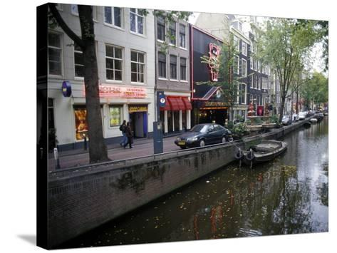 Red Light District Along One of the City Canals, Amsterdam, the Netherlands (Holland)-Richard Nebesky-Stretched Canvas Print