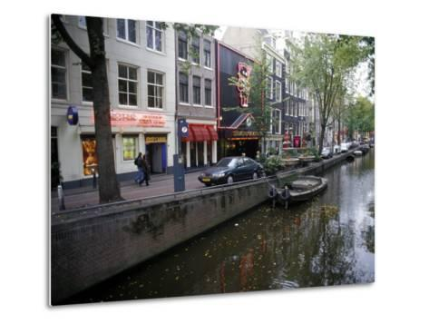 Red Light District Along One of the City Canals, Amsterdam, the Netherlands (Holland)-Richard Nebesky-Metal Print