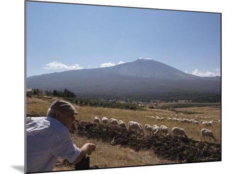 Shepherd, Mount Etna, Sicily, Italy-Oliviero Olivieri-Mounted Photographic Print