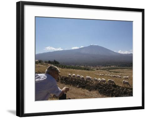 Shepherd, Mount Etna, Sicily, Italy-Oliviero Olivieri-Framed Art Print
