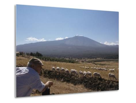 Shepherd, Mount Etna, Sicily, Italy-Oliviero Olivieri-Metal Print