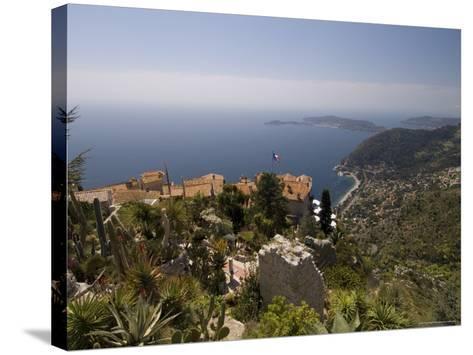 Eze Village and Cap Ferrat, Alpes Maritimes, Provence, Cote d'Azur, French Riviera, France-Sergio Pitamitz-Stretched Canvas Print