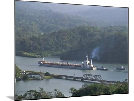Cargo Ship in Culebra Cut, Panama Canal, Panama, Central America-Sergio Pitamitz-Mounted Photographic Print
