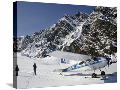 Small Plane Landed on Glacier in Denali National Park, Alaska, USA-James Gritz-Stretched Canvas Print
