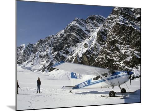 Small Plane Landed on Glacier in Denali National Park, Alaska, USA-James Gritz-Mounted Photographic Print
