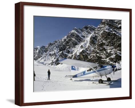Small Plane Landed on Glacier in Denali National Park, Alaska, USA-James Gritz-Framed Art Print