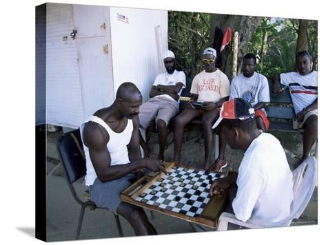 Fishermen Playing Checkers, Charlotteville, Tobago, West Indies, Caribbean, Central America-Yadid Levy-Stretched Canvas Print