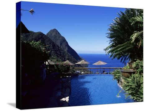 The Pool at the Ladera Resort Overlooking the Pitons, St. Lucia, Windward Islands-Yadid Levy-Stretched Canvas Print
