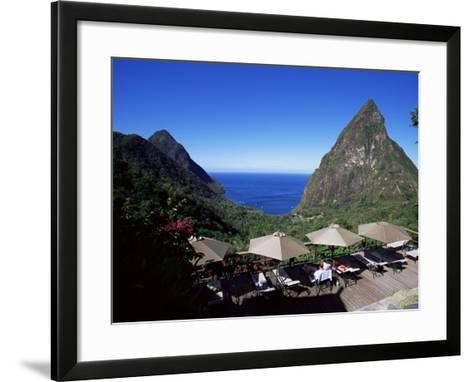 The Pool at the Ladera Resort Overlooking the Pitons, St. Lucia, Windward Islands-Yadid Levy-Framed Art Print