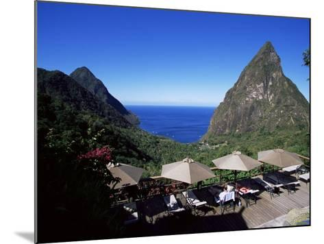 The Pool at the Ladera Resort Overlooking the Pitons, St. Lucia, Windward Islands-Yadid Levy-Mounted Photographic Print