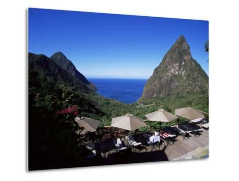 The Pool at the Ladera Resort Overlooking the Pitons, St. Lucia, Windward Islands-Yadid Levy-Metal Print