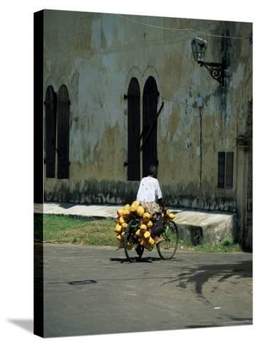 Coconut Seller Riding His Bicycle, Galle, Sri Lanka-Yadid Levy-Stretched Canvas Print
