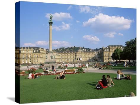 Schlossplatz, King Wilhelm Jubilee Column, Neues Schloss, Stuttgart, Baden Wurttemberg, Germany-Yadid Levy-Stretched Canvas Print