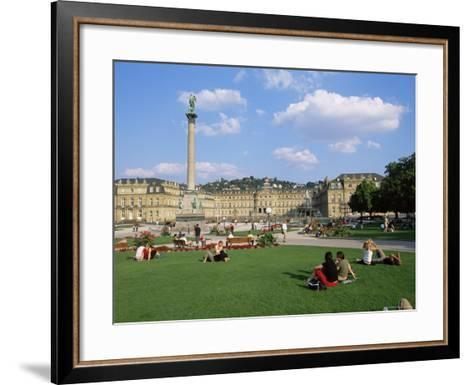 Schlossplatz, King Wilhelm Jubilee Column, Neues Schloss, Stuttgart, Baden Wurttemberg, Germany-Yadid Levy-Framed Art Print