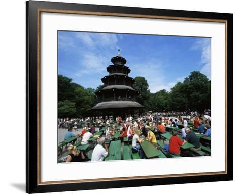 People Sitting at the Chinese Tower Beer Garden in the Englischer Garten, Munich, Bavaria, Germany-Yadid Levy-Framed Art Print