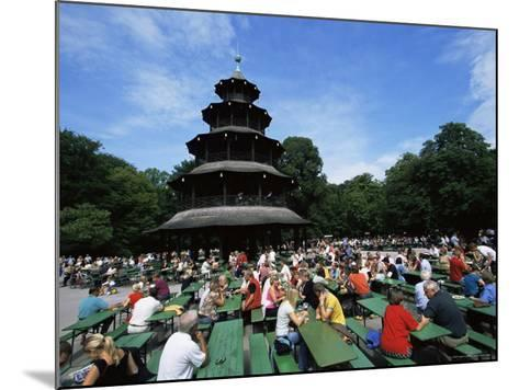 People Sitting at the Chinese Tower Beer Garden in the Englischer Garten, Munich, Bavaria, Germany-Yadid Levy-Mounted Photographic Print