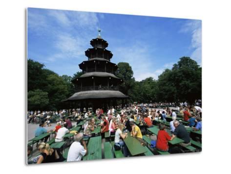 People Sitting at the Chinese Tower Beer Garden in the Englischer Garten, Munich, Bavaria, Germany-Yadid Levy-Metal Print