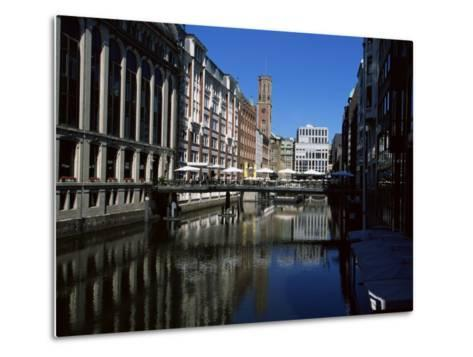 Canal in the Altstadt (Old Town), Hamburg, Germany-Yadid Levy-Metal Print