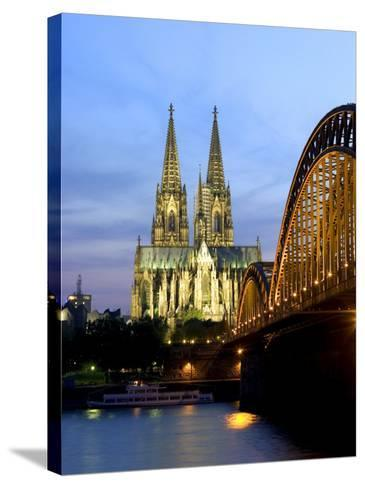 Cologne Cathedral, and Hohenzollern Bridge at Night, North Rhine Westphalia-Yadid Levy-Stretched Canvas Print