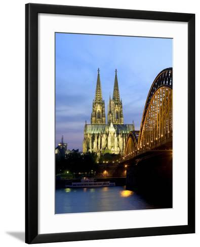 Cologne Cathedral, and Hohenzollern Bridge at Night, North Rhine Westphalia-Yadid Levy-Framed Art Print