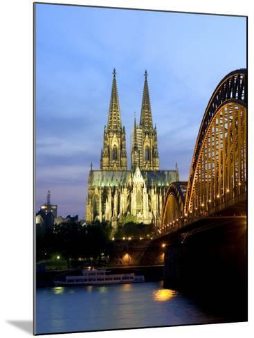 Cologne Cathedral, and Hohenzollern Bridge at Night, North Rhine Westphalia-Yadid Levy-Mounted Photographic Print