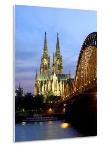 Cologne Cathedral, and Hohenzollern Bridge at Night, North Rhine Westphalia-Yadid Levy-Metal Print