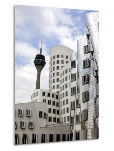 The Neuer Zollhof Building by Frank Gehry at the Medienhafen, Dusseldorf, North Rhine Westphalia-Yadid Levy-Metal Print