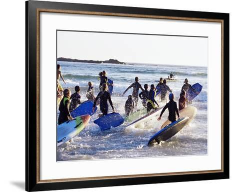Teenage Surfers Running with Their Boards Towards the Water at a Life Saving Competition-Yadid Levy-Framed Art Print