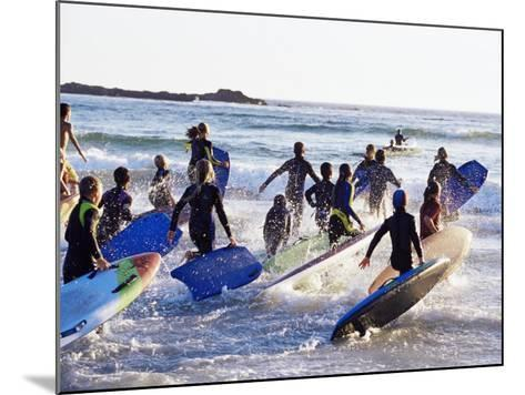 Teenage Surfers Running with Their Boards Towards the Water at a Life Saving Competition-Yadid Levy-Mounted Photographic Print