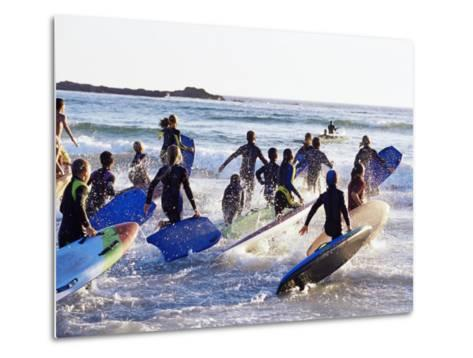 Teenage Surfers Running with Their Boards Towards the Water at a Life Saving Competition-Yadid Levy-Metal Print