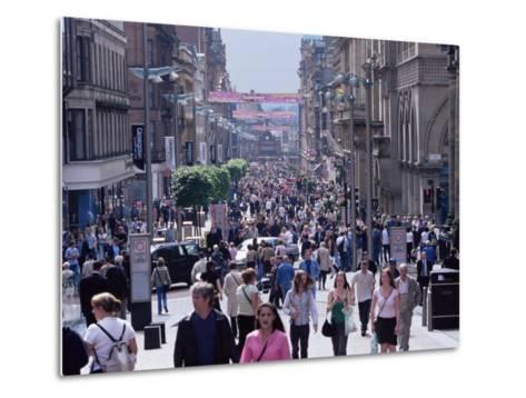 People Walking on Buchanan Street, Glasgow, Scotland, United Kingdom-Yadid Levy-Metal Print