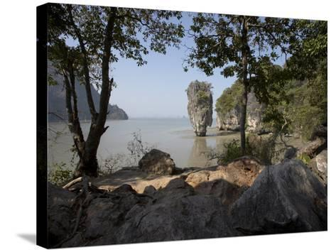 The Famous Rock from the Bond Movie, View from Ko Tapu, James Bond Island, Phang Nga, Thailand-Joern Simensen-Stretched Canvas Print