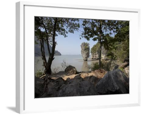 The Famous Rock from the Bond Movie, View from Ko Tapu, James Bond Island, Phang Nga, Thailand-Joern Simensen-Framed Art Print
