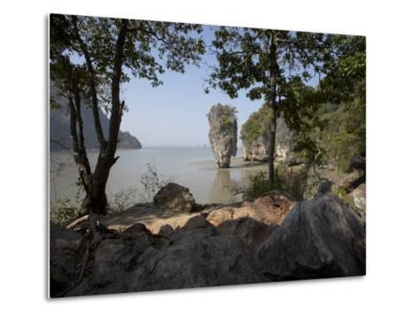 The Famous Rock from the Bond Movie, View from Ko Tapu, James Bond Island, Phang Nga, Thailand-Joern Simensen-Metal Print