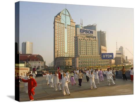 Morning Exercise, the Bund, Huangpu, Shanghai, China-Jochen Schlenker-Stretched Canvas Print