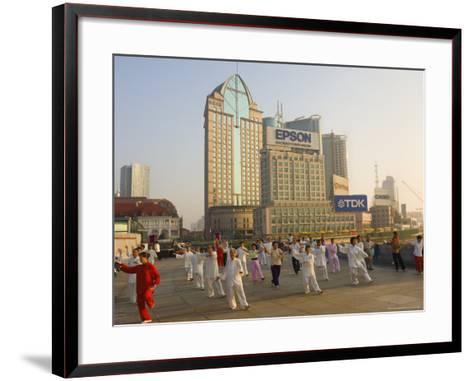 Morning Exercise, the Bund, Huangpu, Shanghai, China-Jochen Schlenker-Framed Art Print
