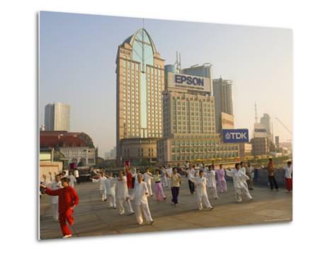 Morning Exercise, the Bund, Huangpu, Shanghai, China-Jochen Schlenker-Metal Print