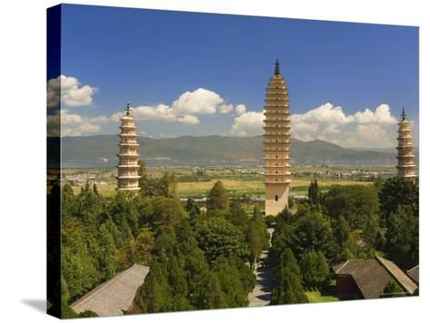 The Three Pagodas, and Erhai Lake in Background, Dali Old Town, Yunnan Province, China-Jochen Schlenker-Stretched Canvas Print