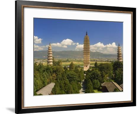 The Three Pagodas, and Erhai Lake in Background, Dali Old Town, Yunnan Province, China-Jochen Schlenker-Framed Art Print