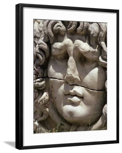 Close-Up of Carved Head, Didyma, Anatolia, Turkey, Eurasia-Christina Gascoigne-Framed Art Print