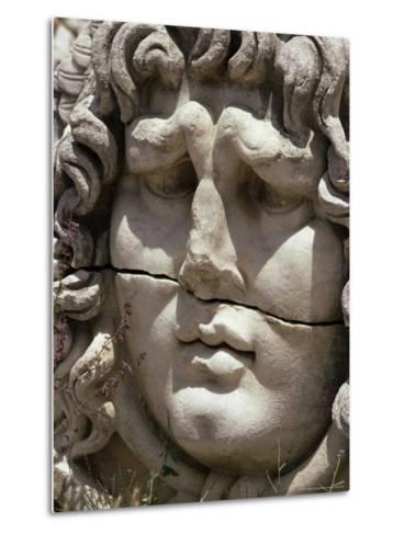 Close-Up of Carved Head, Didyma, Anatolia, Turkey, Eurasia-Christina Gascoigne-Metal Print