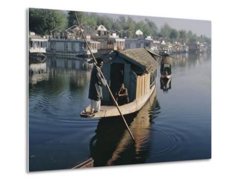 Houseboats on the Lake at Srinagar, Kashmir, Jammu and Kashmir State, India-Christina Gascoigne-Metal Print