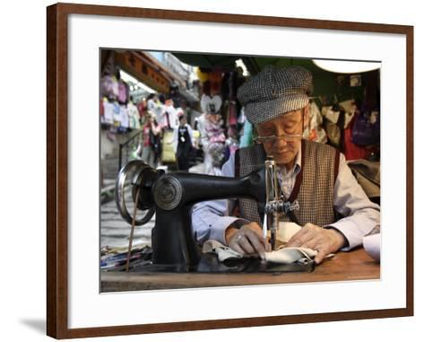 A Tailor at Work in Hong Kong, China-Andrew Mcconnell-Framed Art Print