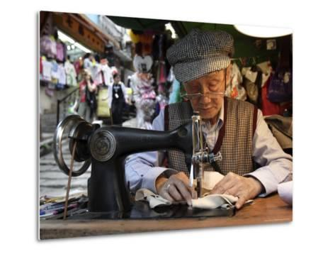 A Tailor at Work in Hong Kong, China-Andrew Mcconnell-Metal Print
