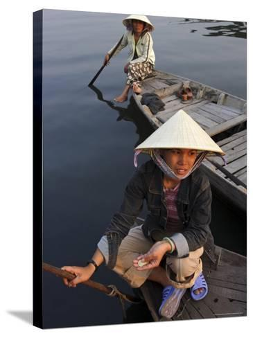 Women Ferrying Boats Await a Fare, Hoi An, Vietnam, Indochina, Southeast Asia-Andrew Mcconnell-Stretched Canvas Print