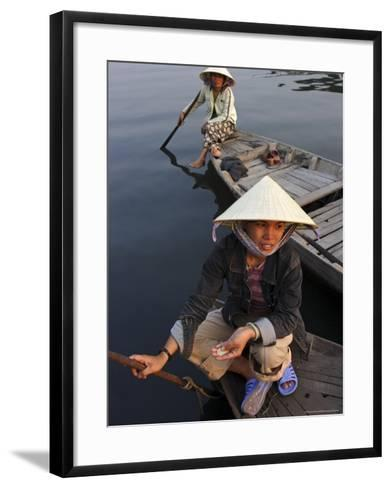 Women Ferrying Boats Await a Fare, Hoi An, Vietnam, Indochina, Southeast Asia-Andrew Mcconnell-Framed Art Print