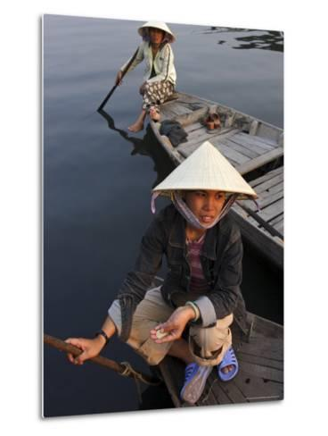Women Ferrying Boats Await a Fare, Hoi An, Vietnam, Indochina, Southeast Asia-Andrew Mcconnell-Metal Print