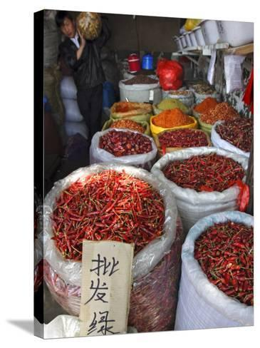 Chilli Peppers and Spices on Sale in Wuhan, Hubei Province, China-Andrew Mcconnell-Stretched Canvas Print