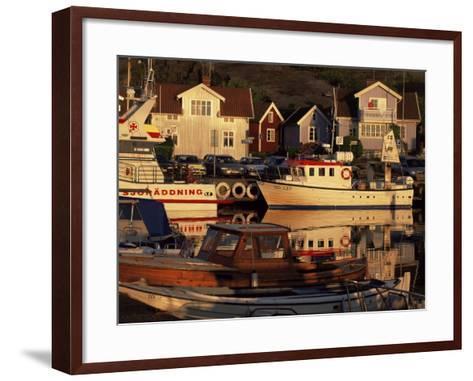 Sundown Over South Harbour, Village of Fjallbacka, Bohuslan, Sweden, Scandinavia-Kim Hart-Framed Art Print