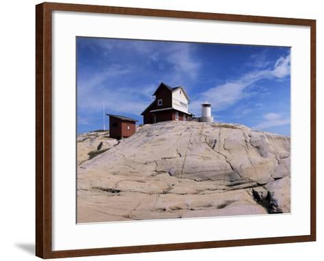 The Lighthouse on Stora Svangen, off the Island of Reso, Bohuslan, Sweden, Scandinavia-Kim Hart-Framed Art Print